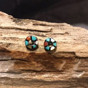 Zuni Sterling Silver and Gemstone inlay Earrings